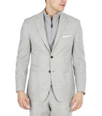 tallia men's slim-fit stretch light gray tic suit jacket