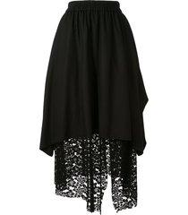 goen.j overlay mesh lace skirt - black