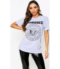 ramones oversized graphic t-shirt, grey marl