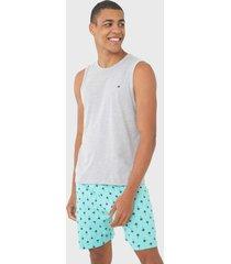 pijama malwee liberta tropical cinza/verde