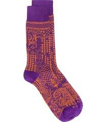 etro paisley print socks - purple