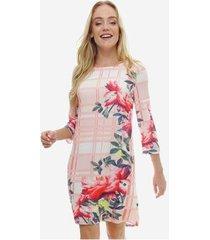 vestido crepe estampado xadrez floral sob manga 3/4 - feminino