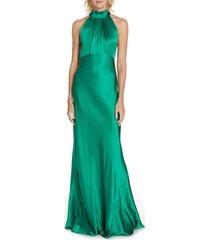 women's saloni michelle velvet bow silk halter gown, size 12 - green