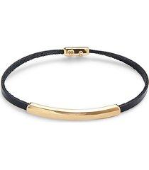 14k yellow gold, leather & black diamond bracelet
