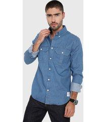 camisa azul indigo  calvin klein