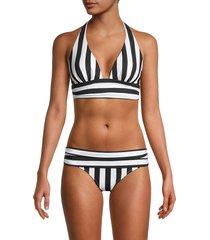 dolce & gabbana women's striped halter bikini top - black - size 1 (xs)