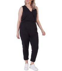 black tape plus size banded wrap jumpsuit