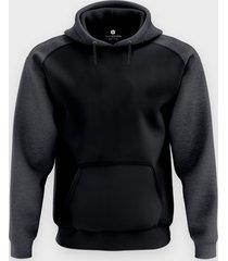 męska bluza dwukolorowa premium (bez nadruku, gładka) - czarna