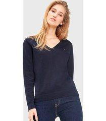 sweater  tommy hilfiger azul - calce regular