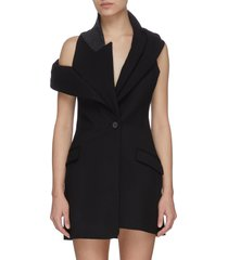 deconstructed sleeveless blazer dress
