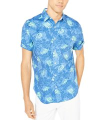 nautica men's blue sail fish-and-leaf-print shirt, created for macy's