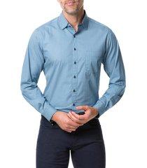 men's rodd & gunn terraces regular fit button-up shirt, size large - blue