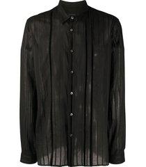 ann demeulemeester striped ribbon shirt - black