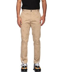 versace pants versace chino trousers with brooch embroidery