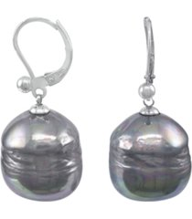 majorica sterling silver earrings, organic man-made baroque pearl