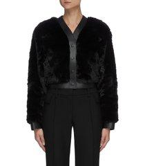 leather trim faux fur button up jacket