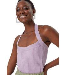 regata amaro tricot decote reto lilã¡s - roxo - feminino - dafiti