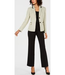 le suit petite two-button dot-print jacket pantsuit