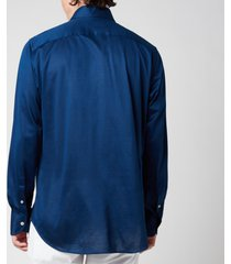 canali men's cotton jersey cut away shirt - navy blue - xl