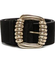 etro ribbed-buckle belt - black
