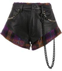 natasha zinko combined studded shorts - black