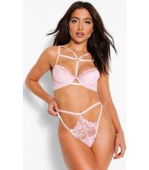 strapping underwire bra and cutout brazilian set, blush