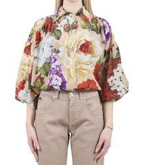 dolce & gabbana khaki floral shirt