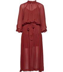 tul ss long dress jurk knielengte rood second female