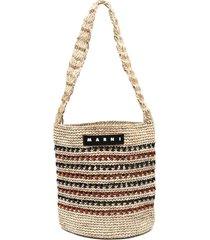 marni market striped crochet shoulder bag - neutrals