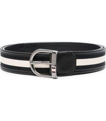 bally striped canvas belt - black