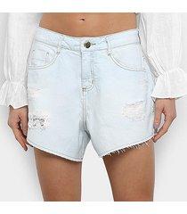 shorts jeans morena rosa delavê destroyed feminino