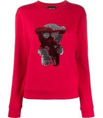 emporio armani sequin teddy sweatshirt - red