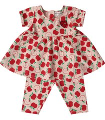 sonia rykiel pink babygirl suit with red apples
