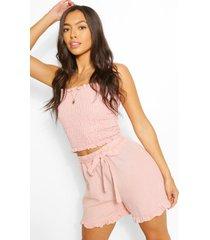 gesmokte linnen achtige top en shorts met geplooide zoom, rose