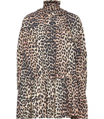 printed cotton poplin kort klänning brun ganni