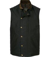 addict clothes japan press stud boa vest - blue