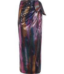 the attico all-over bead applique long skirt