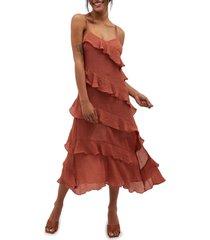 women's minkpink leah midi dress, size large - burgundy