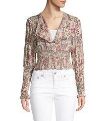 floral-print v-neck top