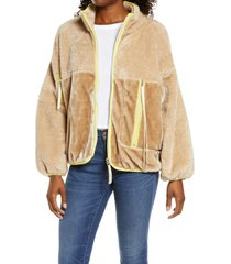 women's ugg marlene faux fur jacket, size small - beige