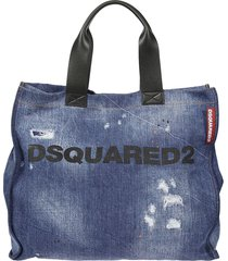 distressed denim shopper bag