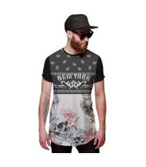 camiseta di nuevo longline skull floral new york caveira floral