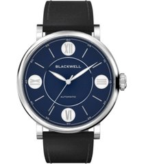 blackwell dark blue dial with silver tone steel and black leather watch 44 mm
