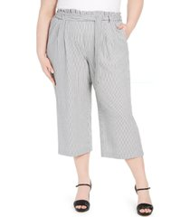 calvin klein plus size striped ruffle-waist belted pants
