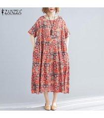 zanzea mujeres acampanado de manga larga maxi del vestido de la impresión floral vestido de la camisa de cuerpo entero -rojo