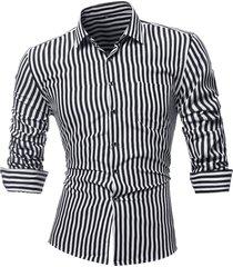 camicia da uomo a maniche lunghe a maniche corte per uomo a righe