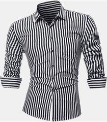 tasca sul petto business a righe sottile maniche lunghe casual camicia per uomo