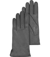 forzieri designer women's gloves, dark gray leather women's gloves w/cashmere lining
