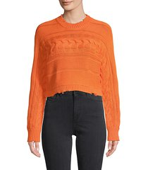 cable-knit cotton cropped sweater