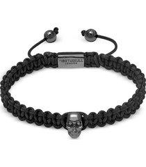 northskull designer men's bracelets, atticus skull macramé bracelet in black and gunmetal